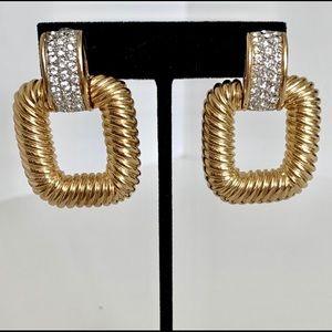 Vintage Gold Link Statement Earrings
